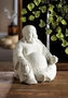 Happy White Buddha Figure