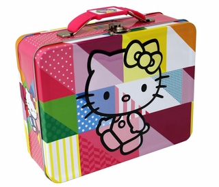 Hello Kitty Colors Embossed Carry All Tin Lunch Box