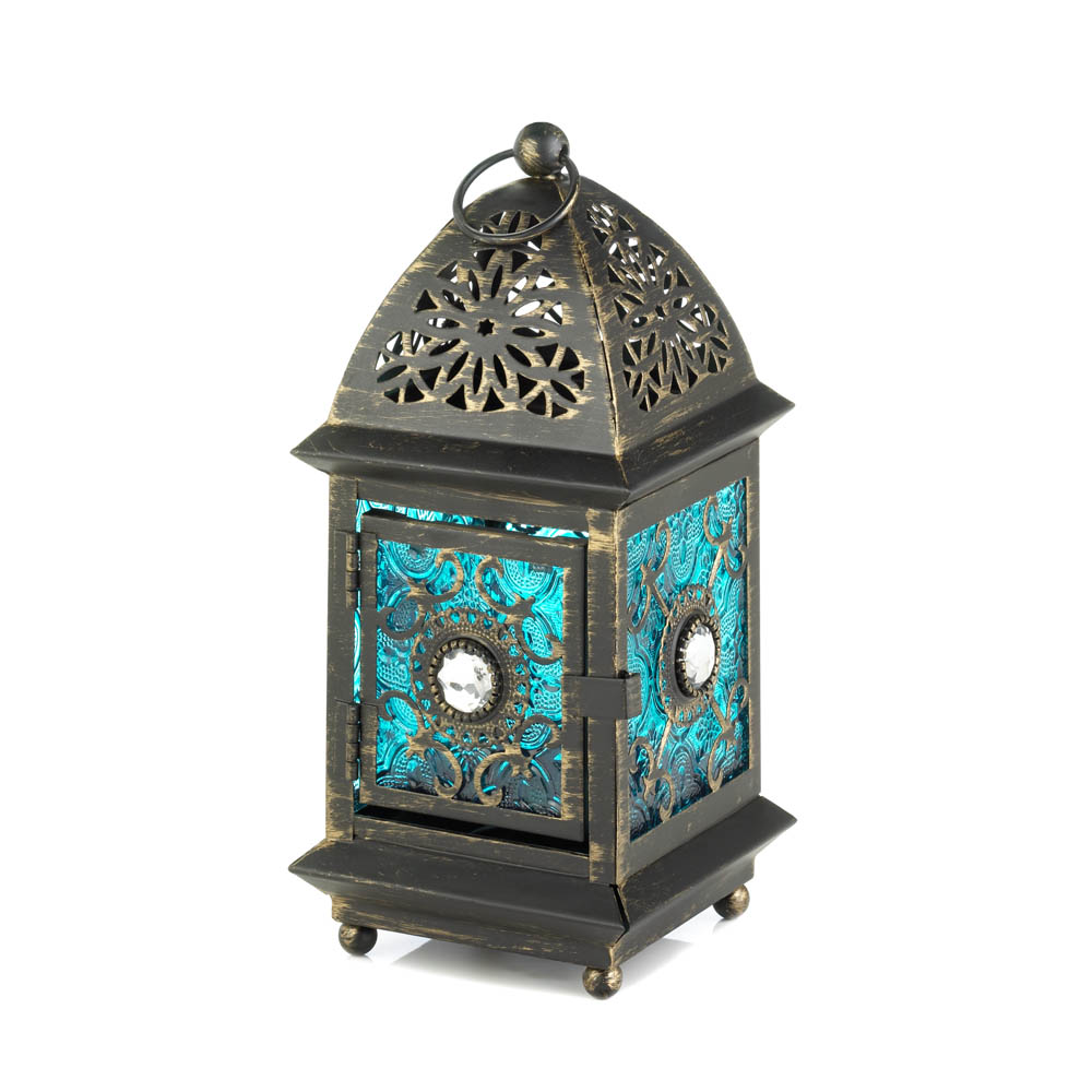Jeweled blue glass lantern wholesale at koehler home decor for Koehler home decor