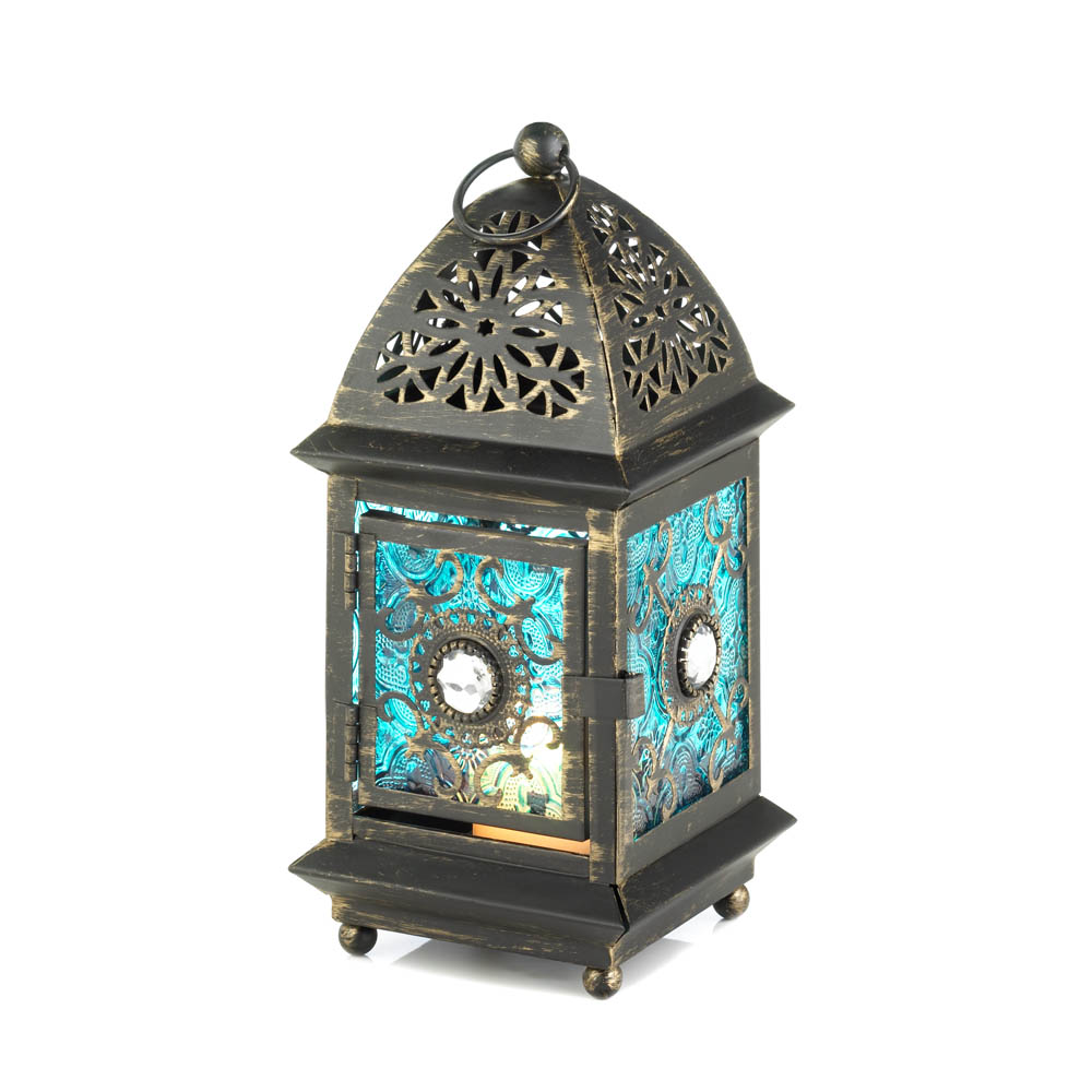 jeweled blue glass lantern wholesale at koehler home decor