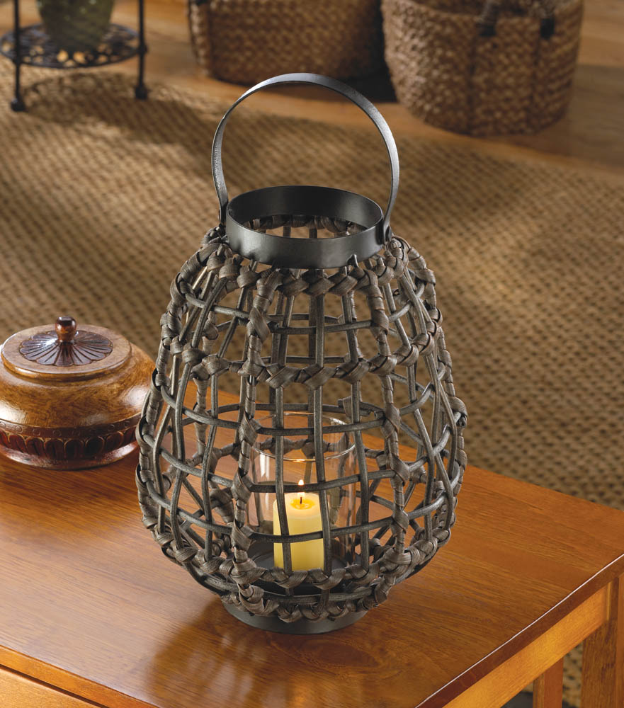Knotted Rattan Candle Lantern