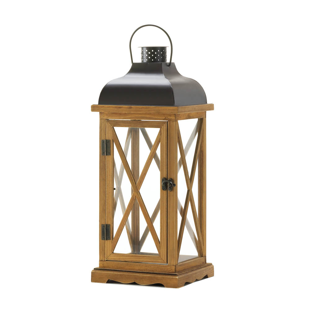 Hayloft large wooden candle lantern wholesale at koehler Decorative home