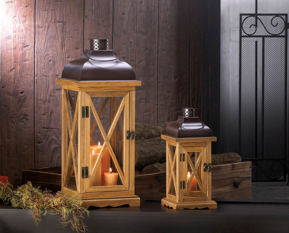 Hayloft large wooden candle lantern wholesale at koehler for Wholesale home decor