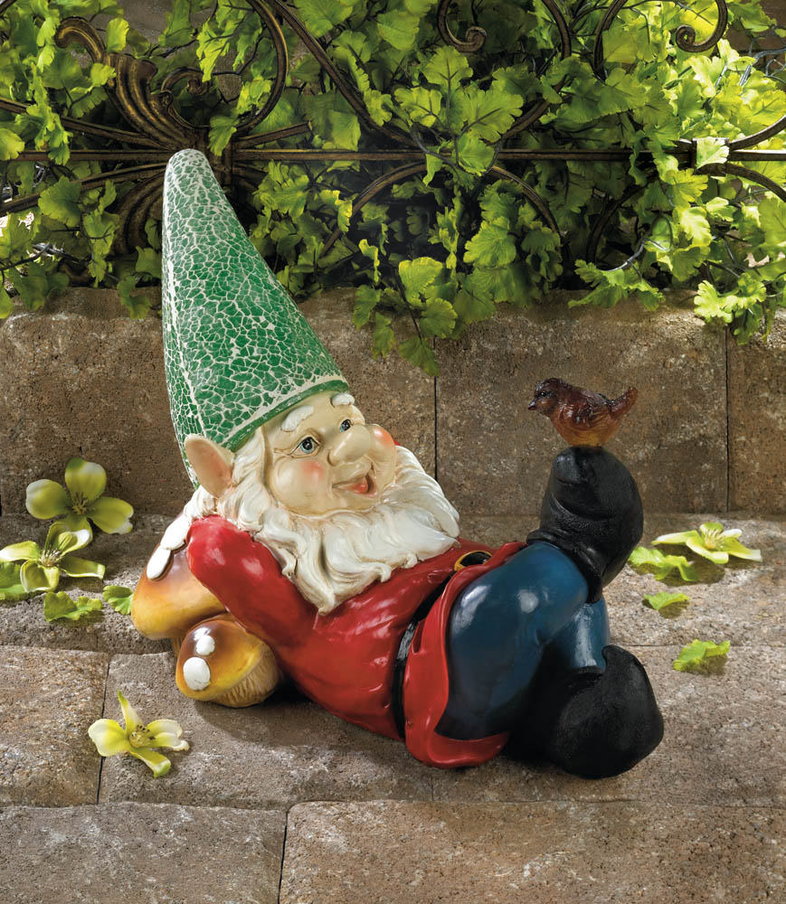 Gnome Garden: Lazy Gnome Solar Garden Statue Wholesale At Koehler Home Decor