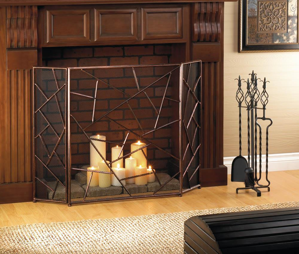 wonderful geometric fireplace screen for the classic with design