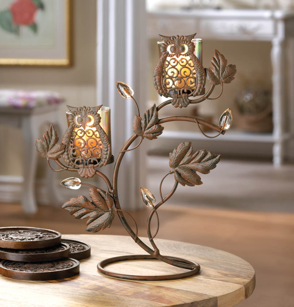 Owl duo votive stand wholesale at koehler home decor for Koehler home decor