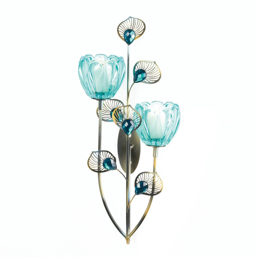 Peacock blossom duo cup sconce wholesale at koehler home decor - Peacock home decor wholesale photos ...