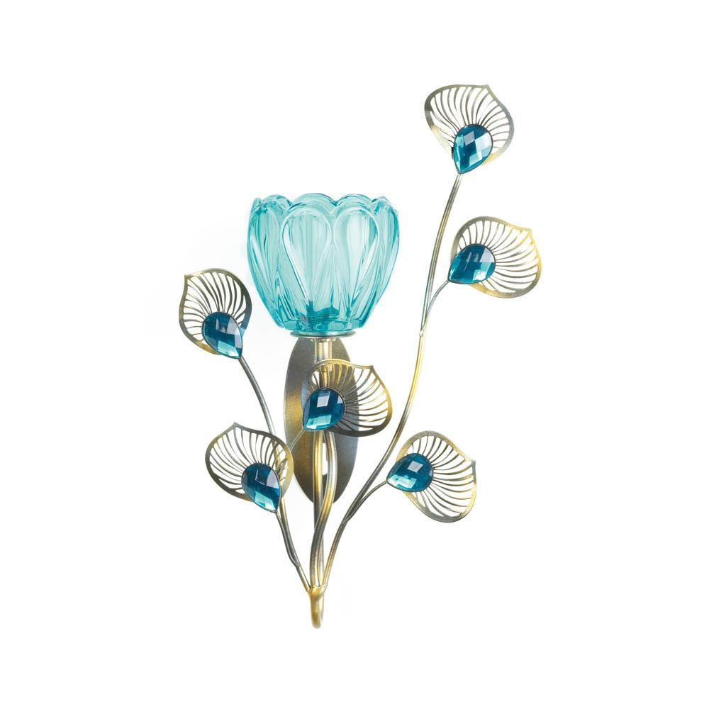 Peacock blossom single sconce wholesale at koehler home decor - Peacock home decor wholesale photos ...