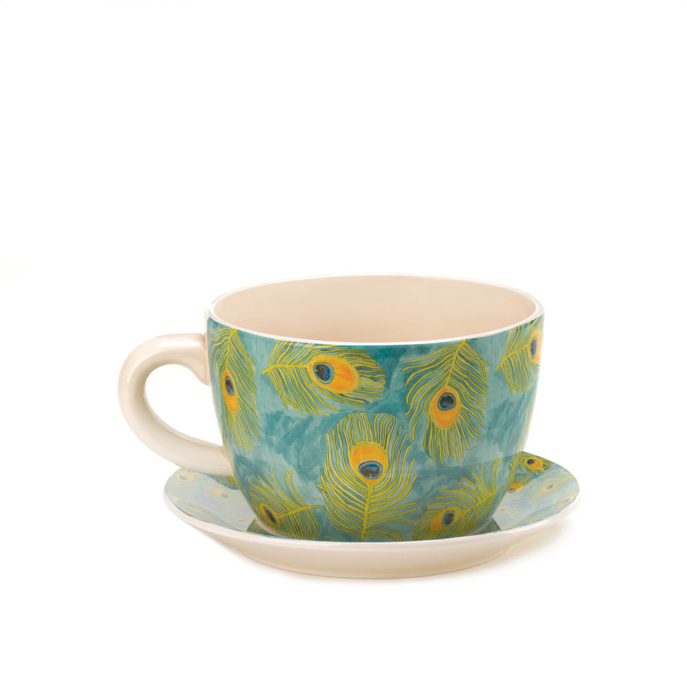 Peacock Feather Teacup Planter Wholesale At Koehler Home Decor