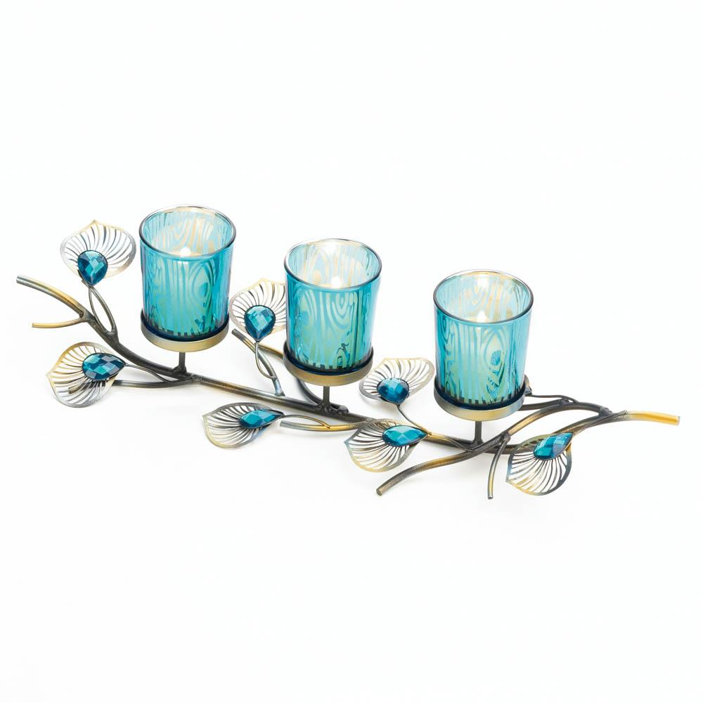 Peacock inspired candle trio wholesale at koehler home decor - Peacock home decor wholesale photos ...