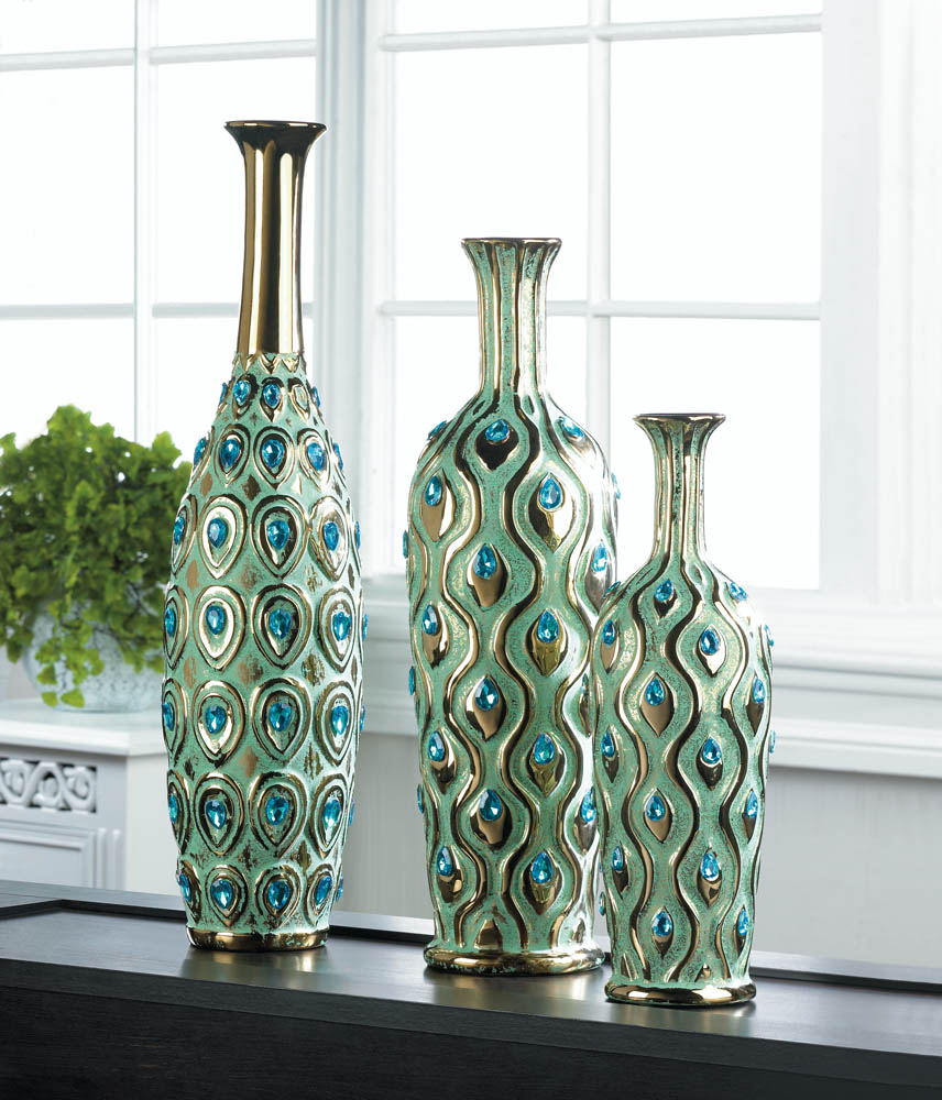 peacock long neck jewel vase wholesale at koehler home decor