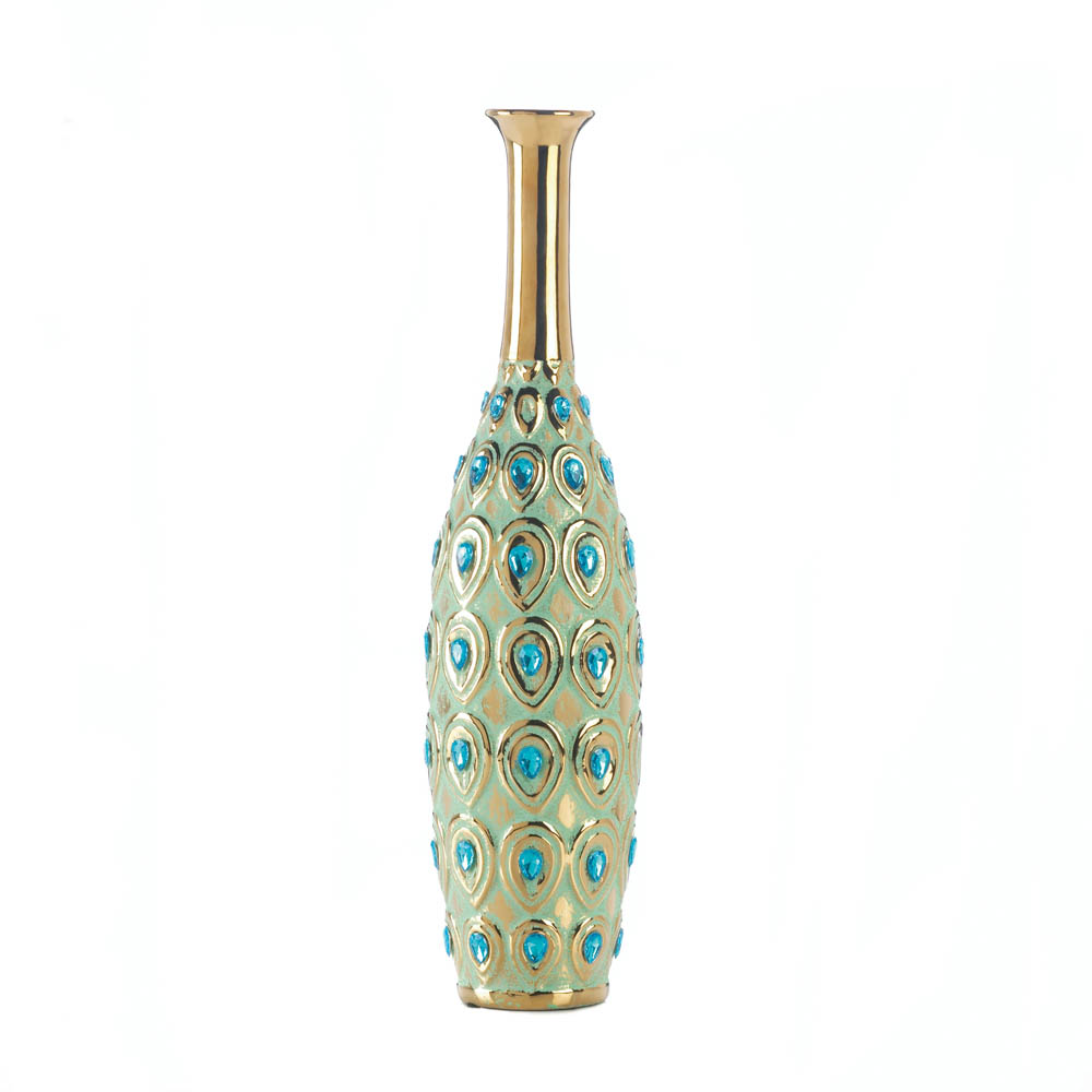Peacock long neck jewel vase wholesale at koehler home decor - Peacock home decor wholesale photos ...