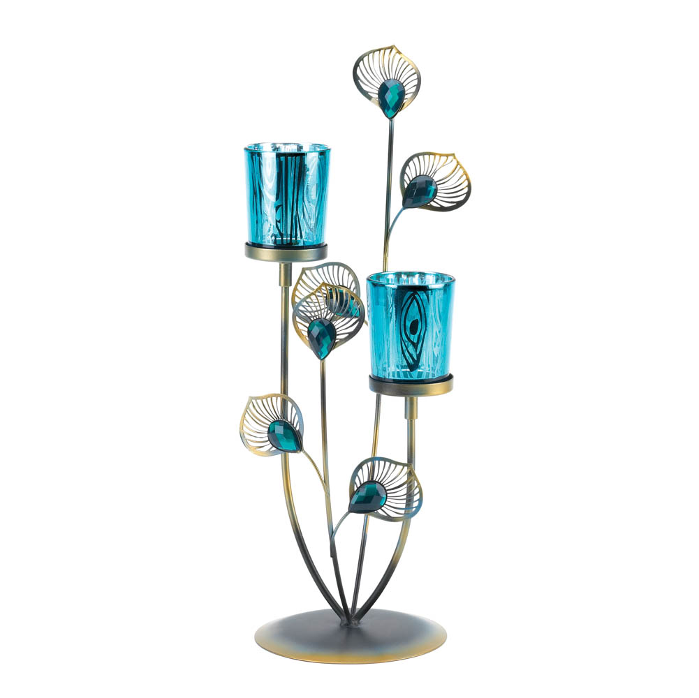 Peacock plume candle holder wholesale at koehler home decor - Peacock home decor wholesale photos ...