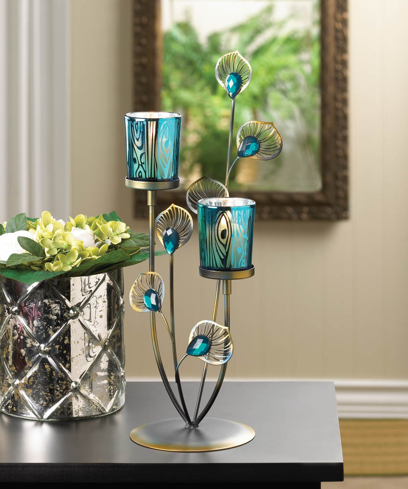 Peacock plume candle holder wholesale at koehler home decor for Glass home decor