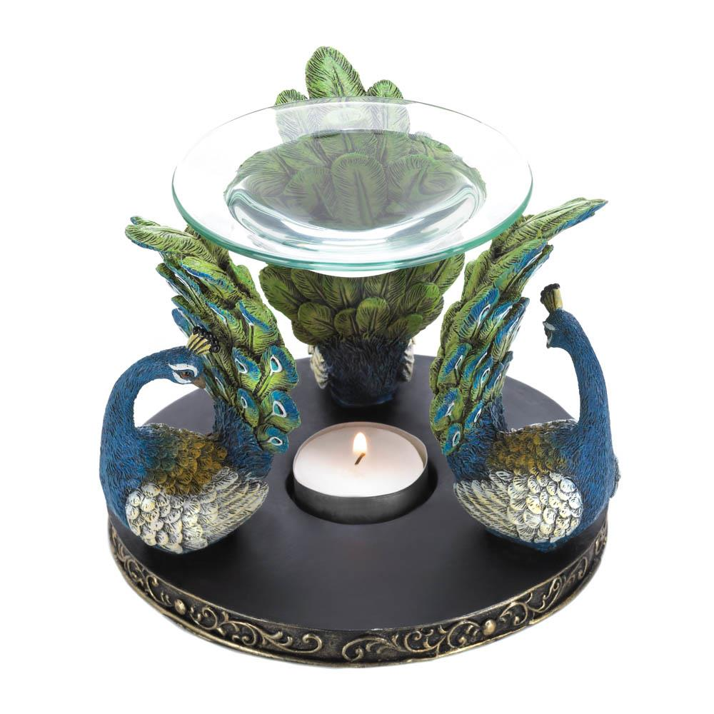 Peacock plume oil warmer wholesale at koehler home decor for Home decorations peacock