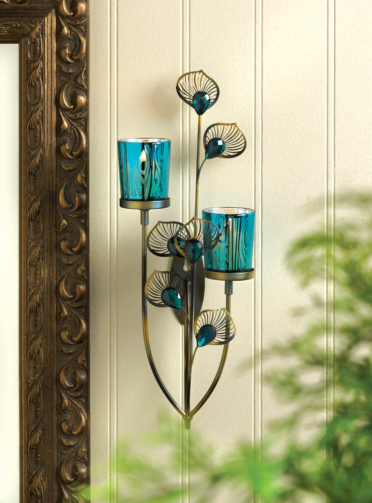 Peacock plume wall sconce wholesale at koehler home decor - Peacock home decor wholesale photos ...