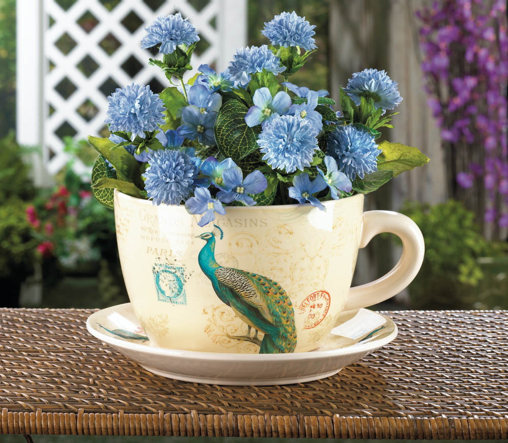 Peacock teacup planter wholesale at koehler home decor - Peacock home decor wholesale photos ...