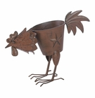 Pecking Rooster Iron Planter