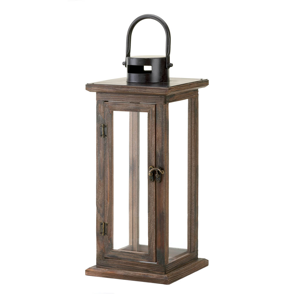 Perfect lodge wooden lantern wholesale at koehler home decor for Decor lanterns