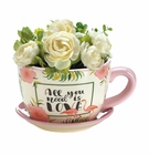 Pink Flamingo Teacup Planter