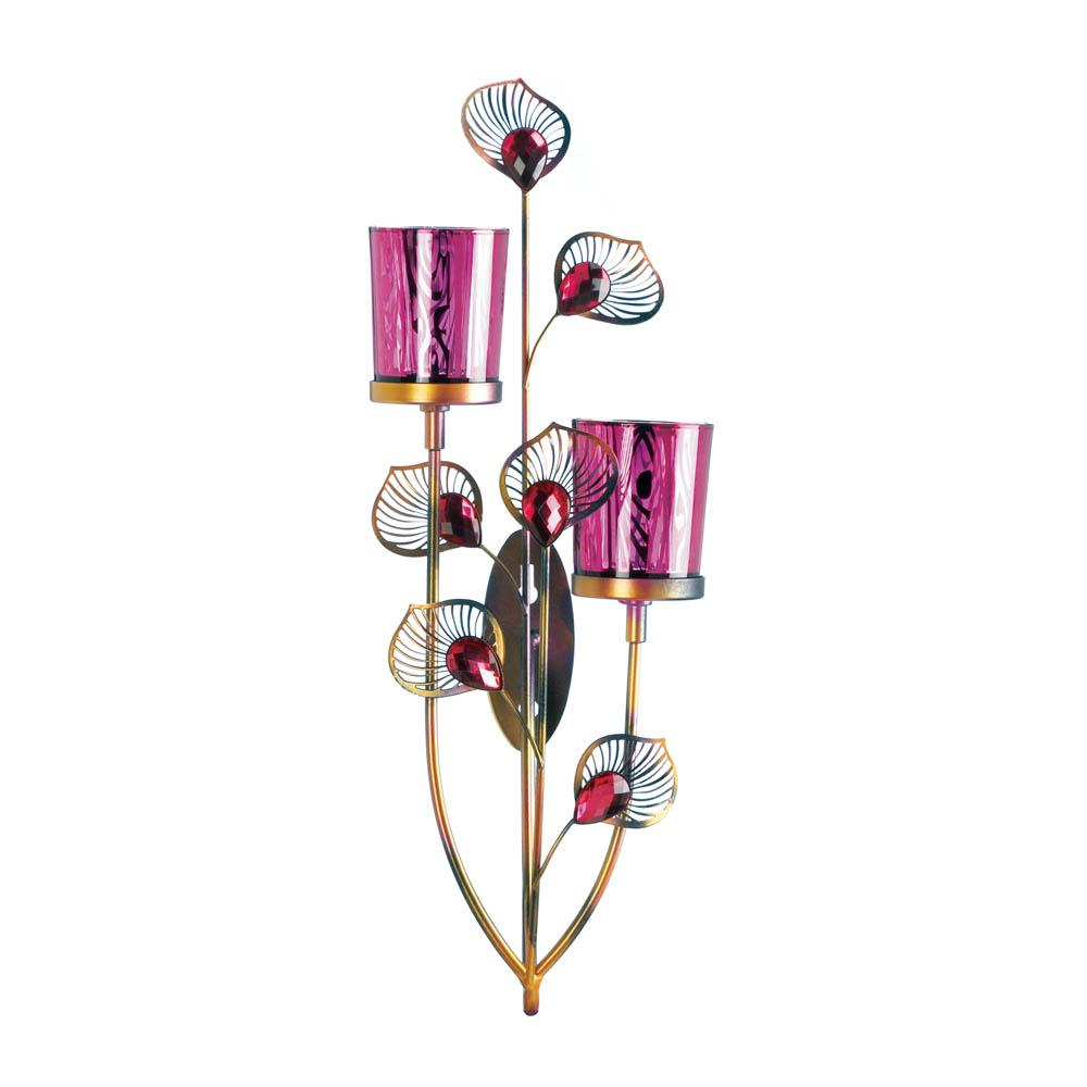 Pink Peacock Wall Sconce