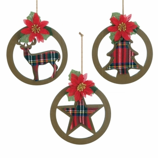 Plaid Silhouette Christmas Ornament Set