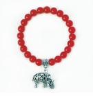 Red Bead Elephant Charm Bracelet