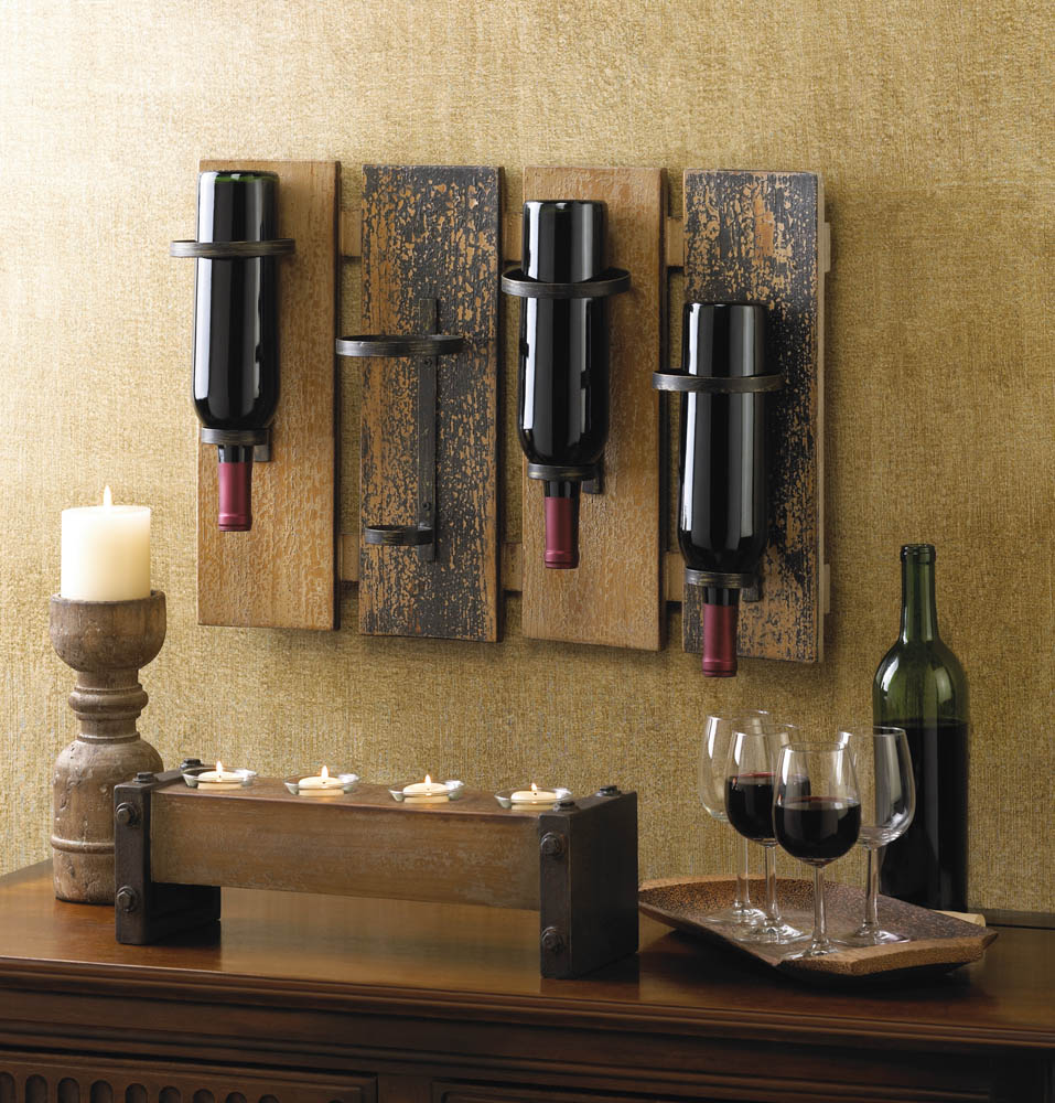 Rustic wall mounted wine rack wholesale at koehler home decor for Koehler home decor