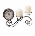Scrollwork Table Clock & Candle Holder