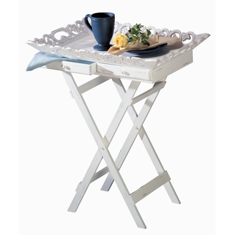 shabby chic tray table wholesale at koehler home decor. Black Bedroom Furniture Sets. Home Design Ideas