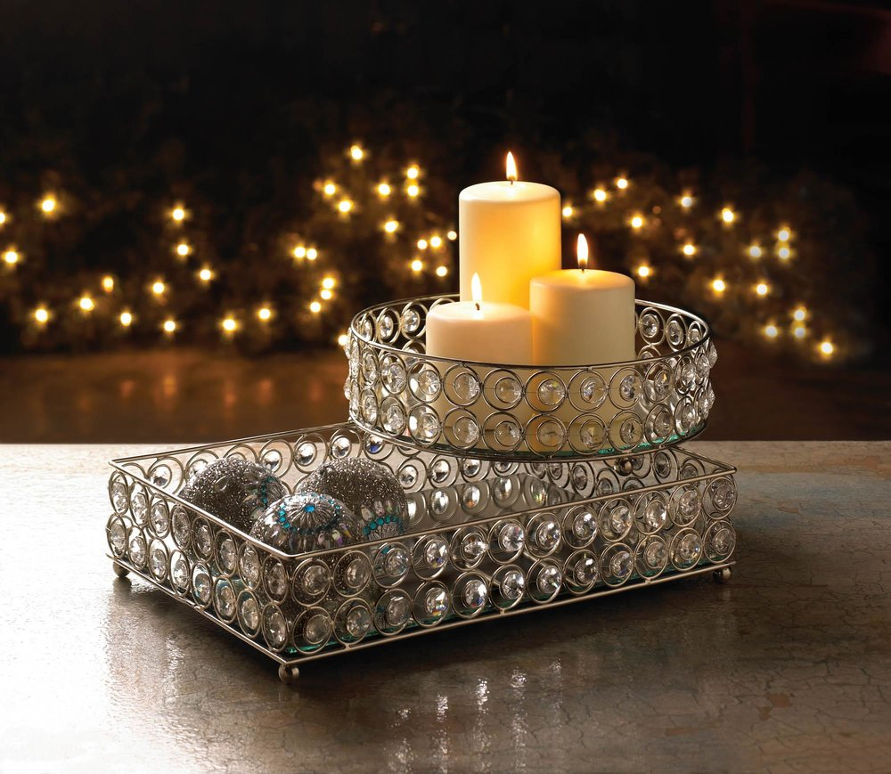 Shimmer rectangular jeweled tray wholesale at koehler home for Koehler home decor