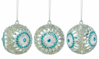 Silver Beaded Ball Ornament Trio