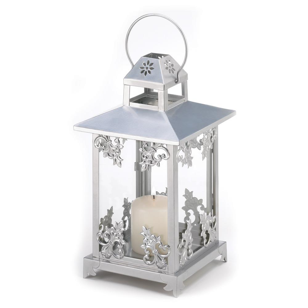 Silver Scrollwork Candle Lantern Wholesale at Koehler Home Decor