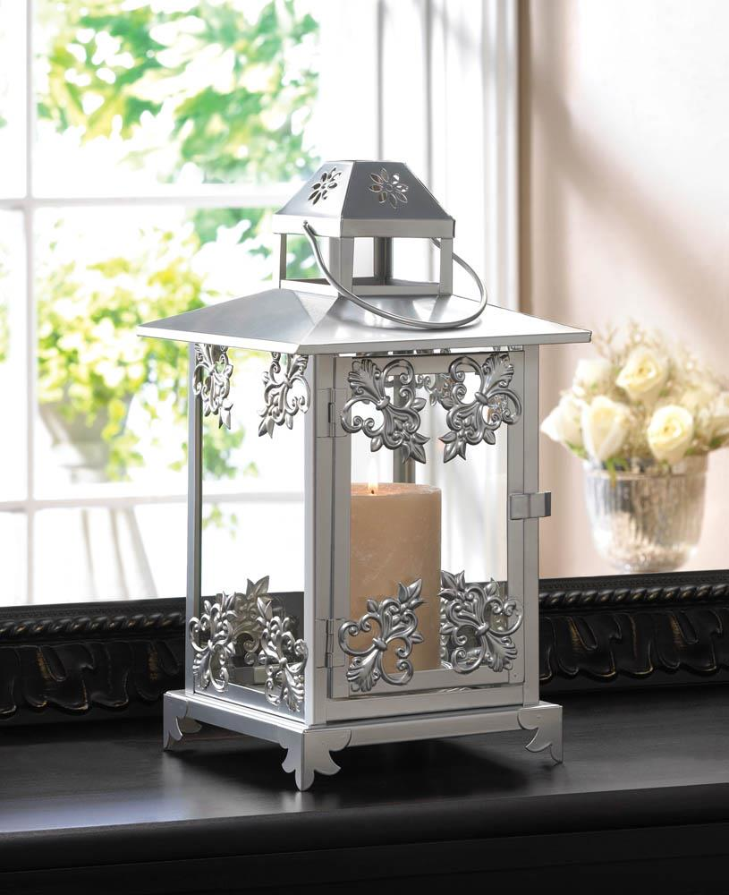 Silver scrollwork candle lantern wholesale at koehler home