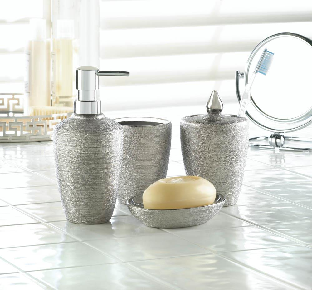 Silver shimmer bath accessory set wholesale at koehler for Silver bath accessories set