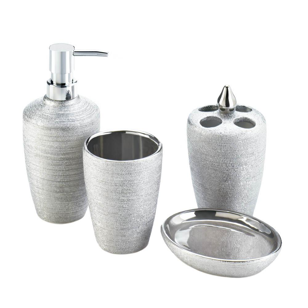 Silver shimmer bath accessory set wholesale at koehler for Silver bathroom accessories set
