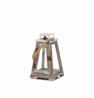 Small Pyramid Wooden Lantern With Rope