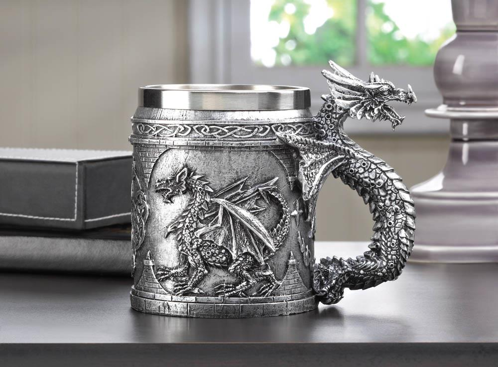 Stainless steel dragon mug at koehler home decor for Koehler home decor