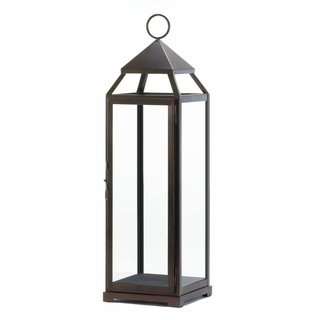 Tall Bronze Contemporary Lantern