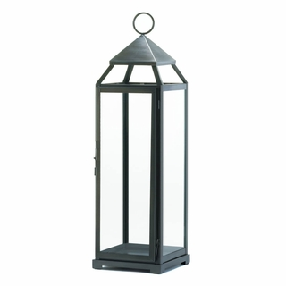 Tall Brushed Silver Lantern