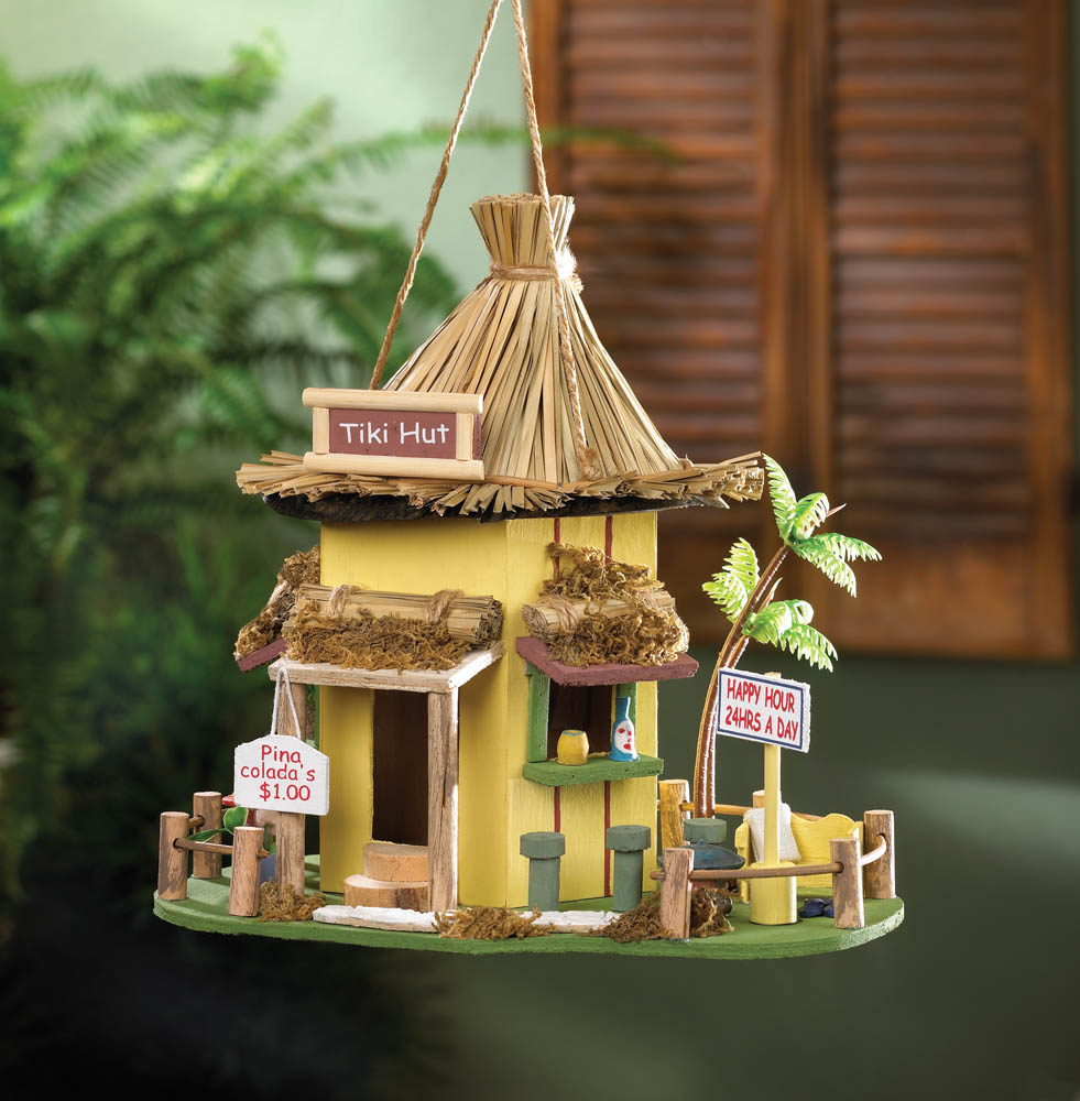 Tiki hut birdhouse wholesale at koehler home decor for Bird home decor