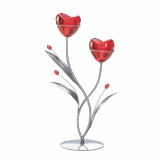 Two Hearts In Bloom Candle Holder