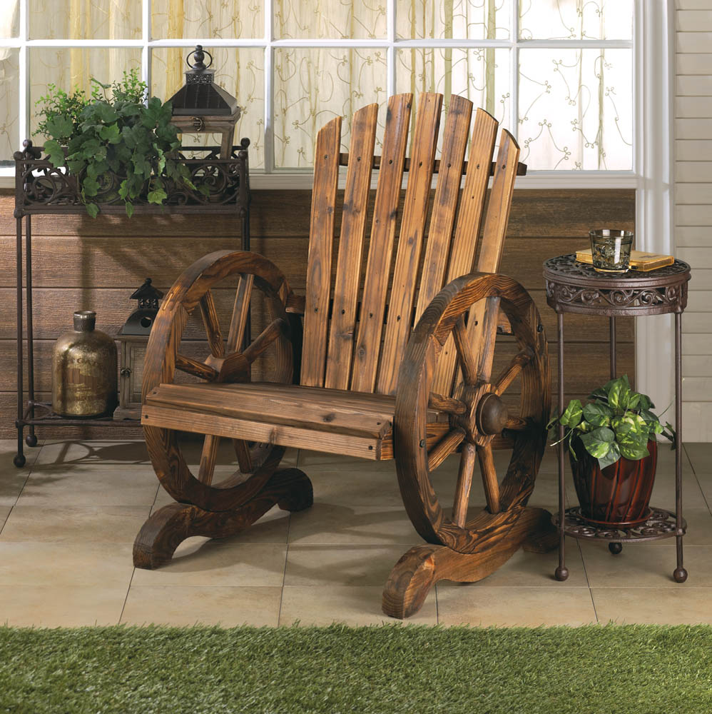 Wagon wheel adirondack chair wholesale at koehler home decor for Koehler home decor