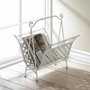White Basket Weave Magazine Rack