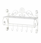 White Flourish Wall Shelf With Hooks