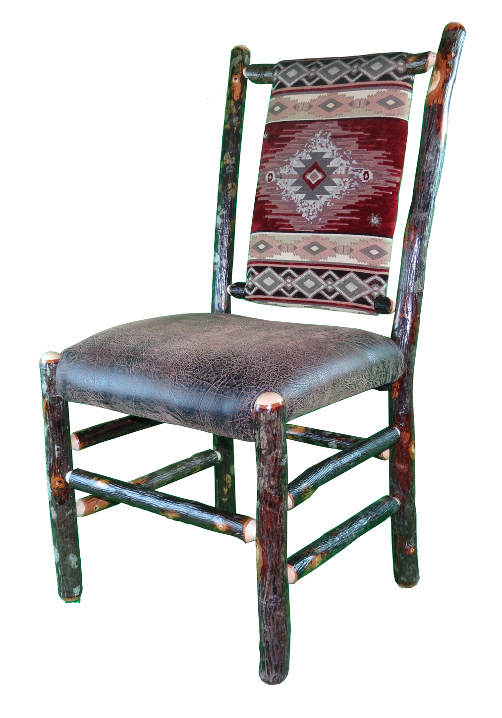 Rustic Hickory Dining Chair with upholstered seat and back - Southwest Red Diamond Fabric