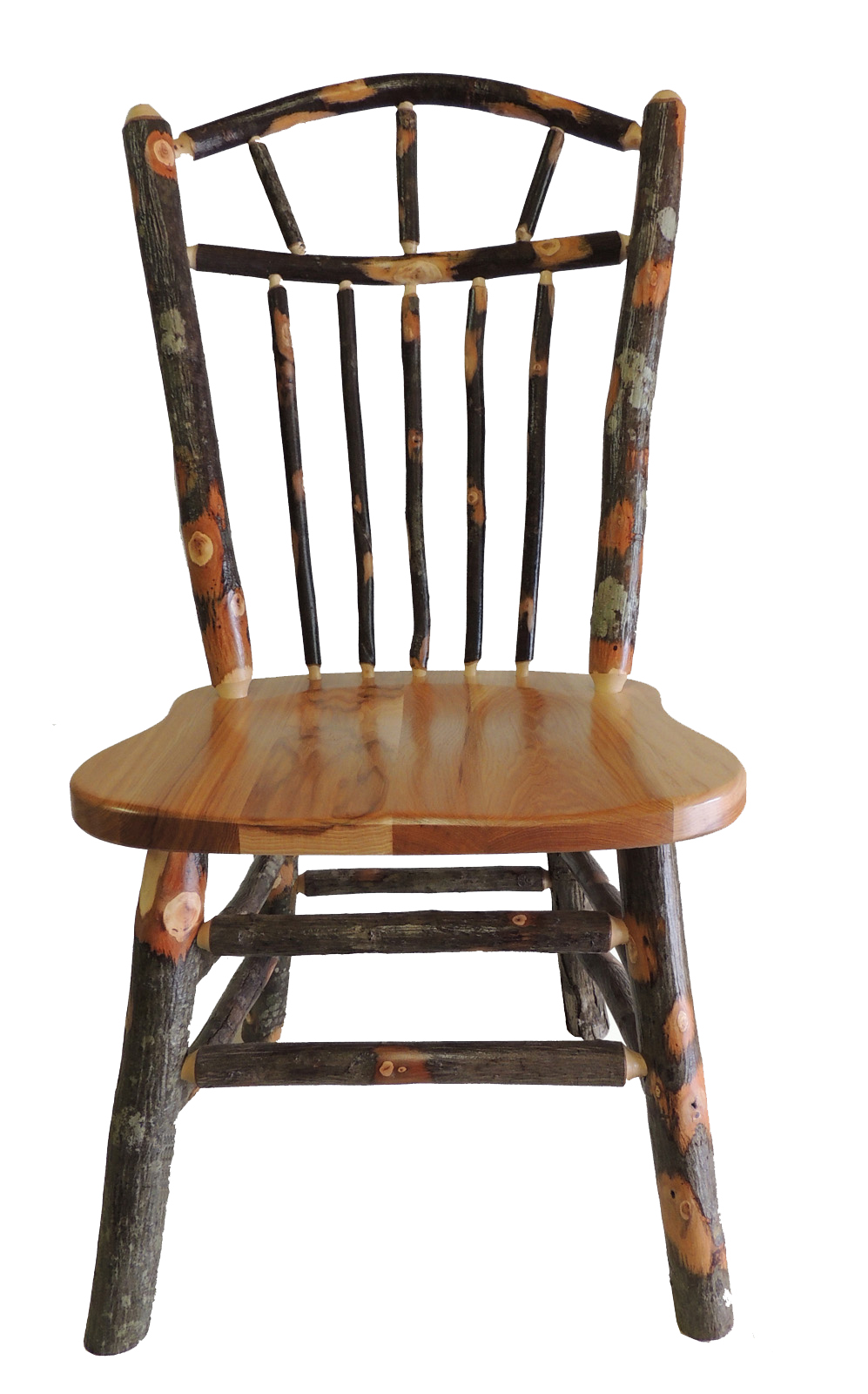 Rustic hickory wagon wheel spindle back kitchen chair for Kitchen chairs