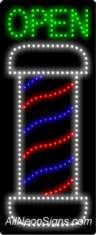 Barber Open (vertical) LED Sign