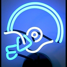 BLUE/WHITE FOOTBALL HELMET NEON SCULPTURE