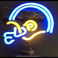 BLUE/YELLOW FOOTBALL HELMET NEON SCULPTURE